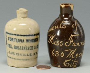 Lot 119: 2 Miniature Louisville Whiskey Jugs, including Bro