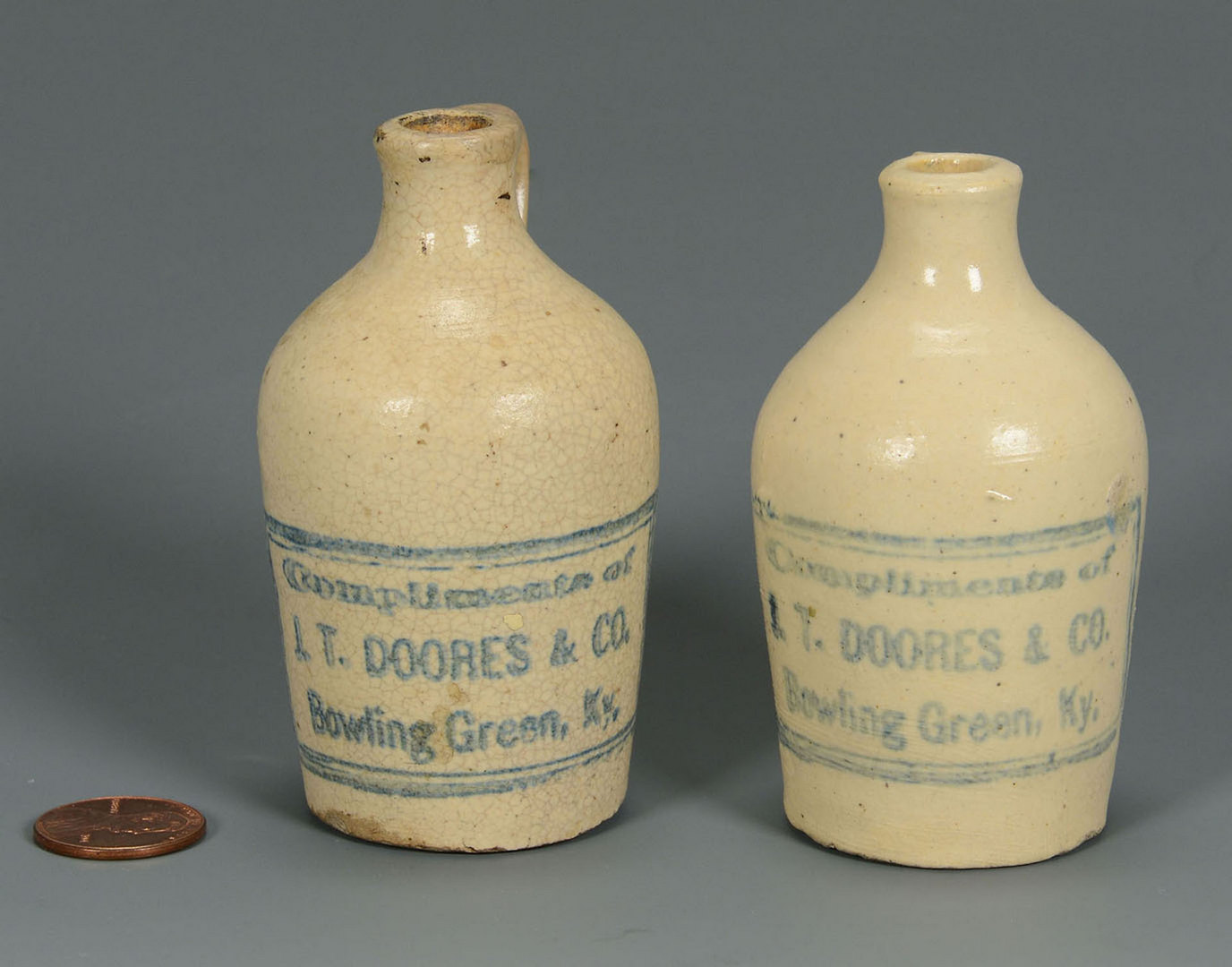 Lot 120: 2 Miniature Whiskey Jugs, Doores, Bowling Green KY