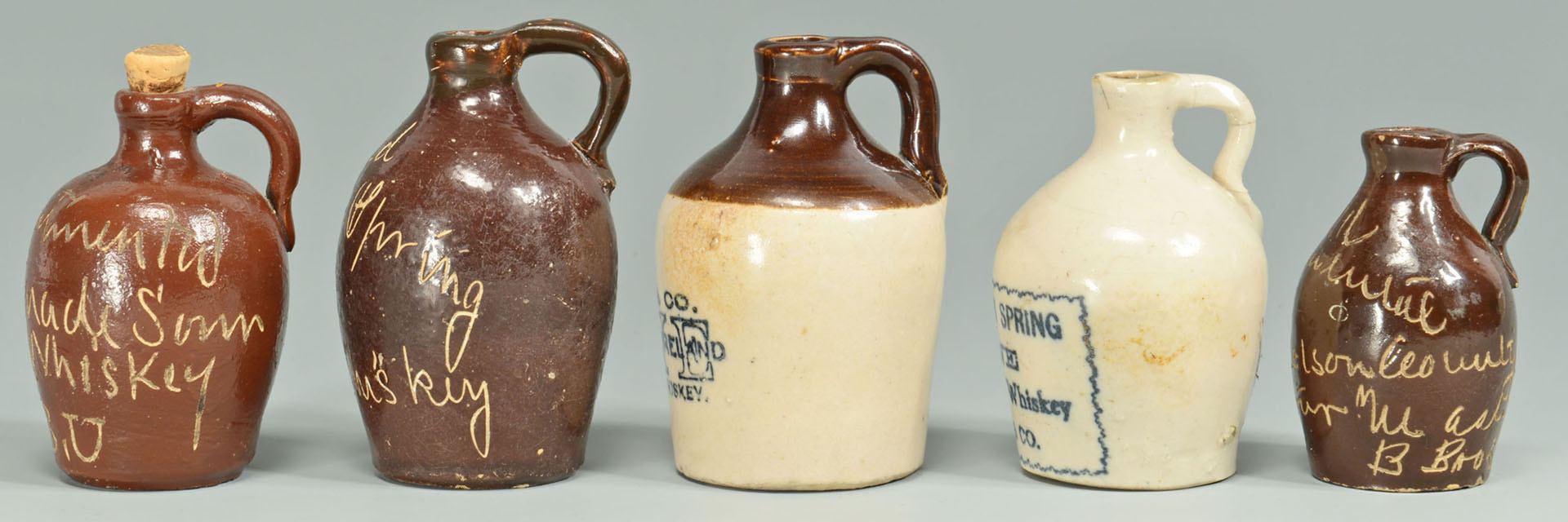 Lot 121: 5 Miniature Kentucky Whiskey Jugs inc. Old Contine