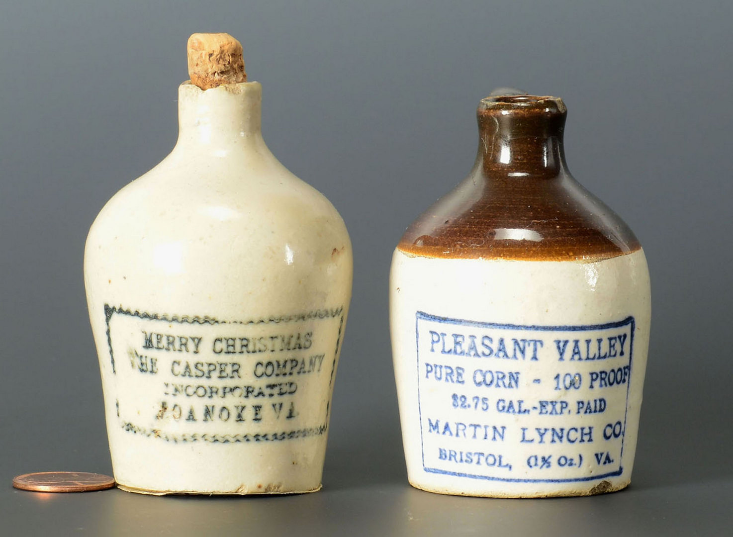 Lot 123: 2 Miniature Virginia Whiskey Jugs