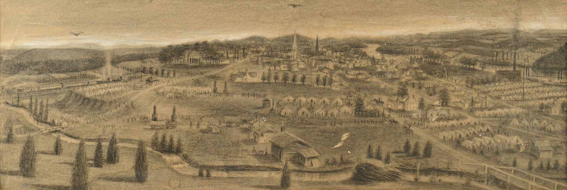 Lot 125: 1863 Civil War Charcoal, Knoxville TN View