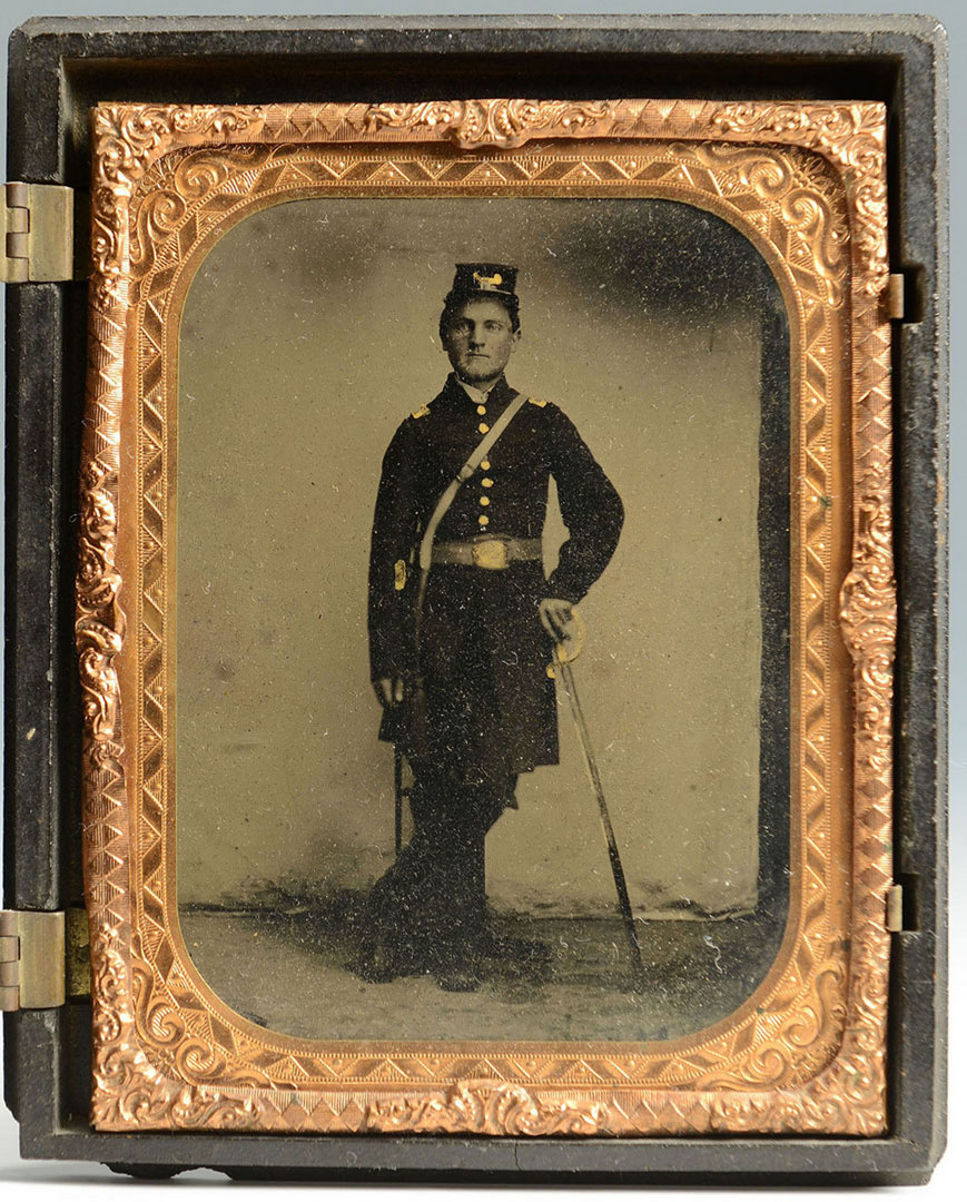 Lot 128: Tin Type of Union Soldier w/ Sword