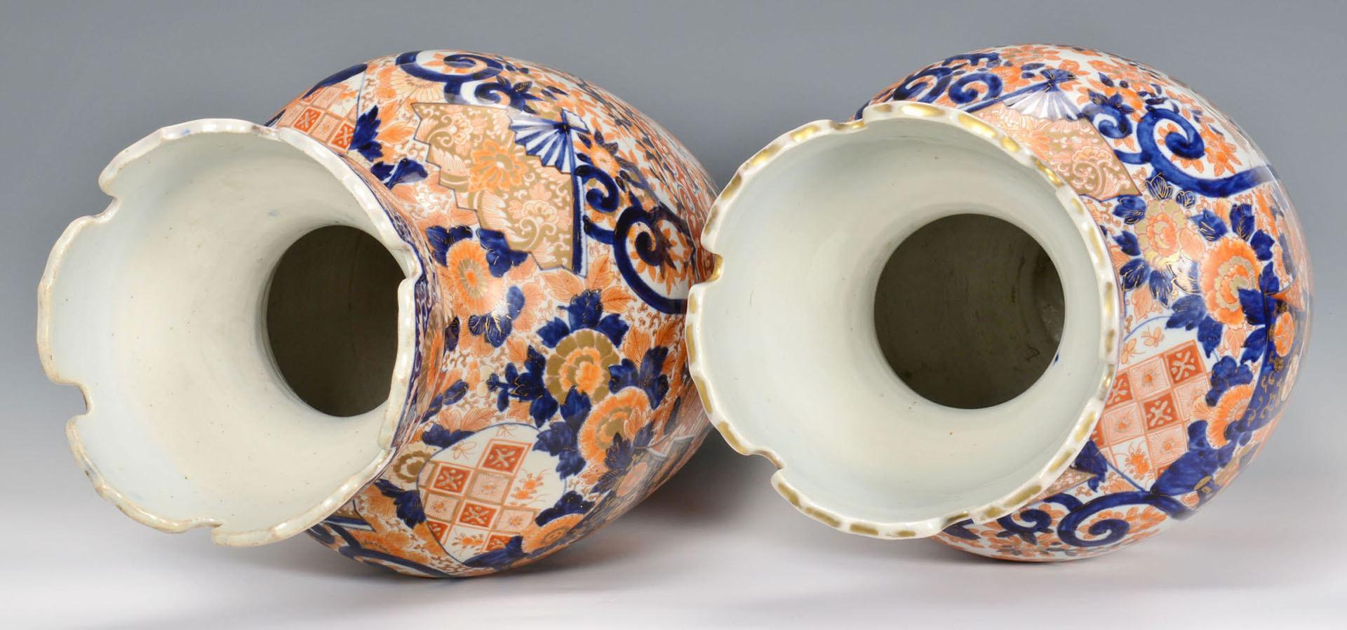 Lot 12: Pr. Large Imari Floor Vases w/ Crane Design