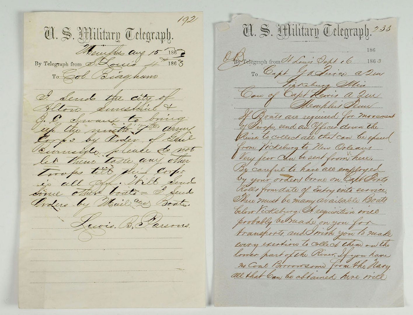 Lot 130: Civil War Union telegrams on MS River supply chain
