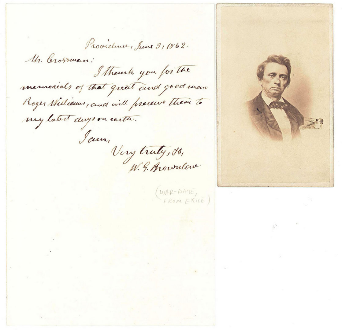 Lot 133: Two 1862 Parson Brownlow Letters and a CDV, Slaver