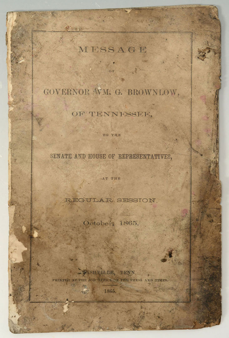 Lot 134: 1865 William G. and James Brownlow Documents, TN G