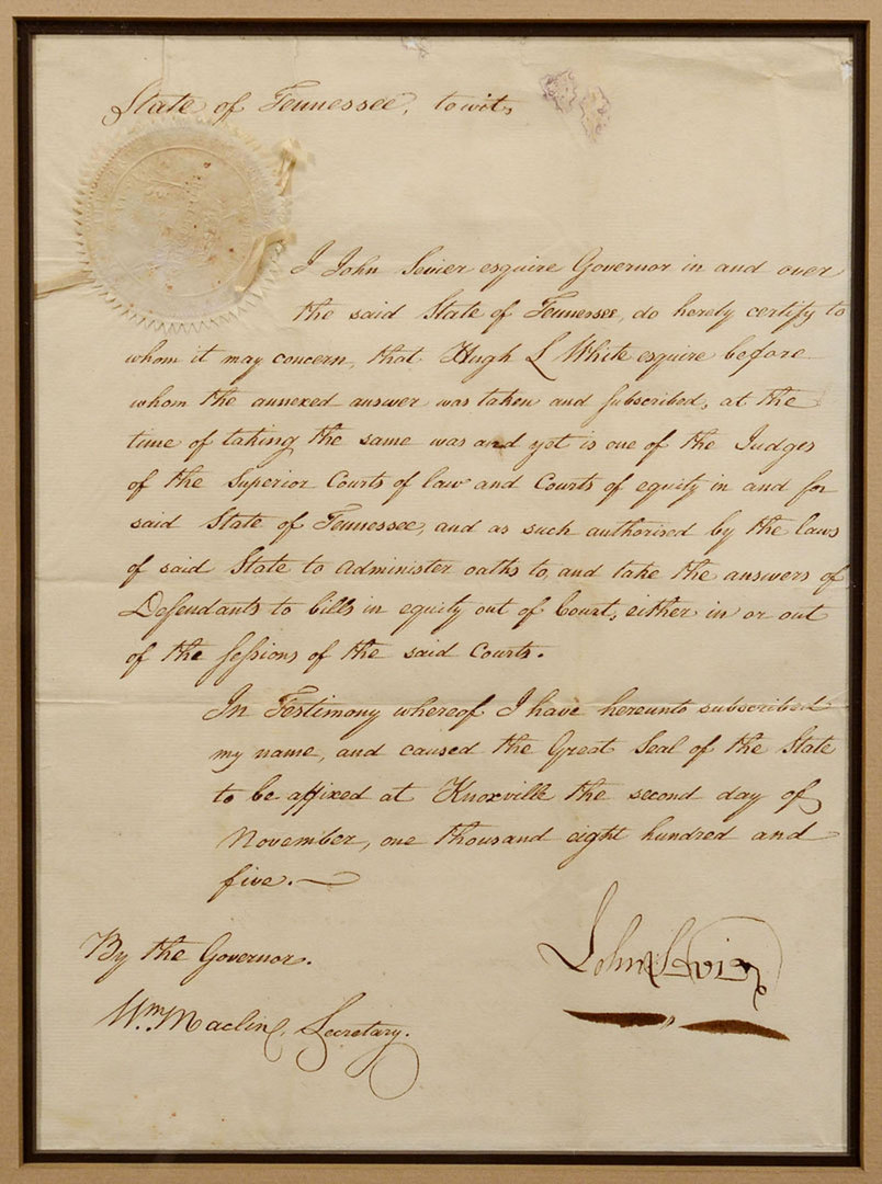Lot 137: 1805 John Sevier signed document