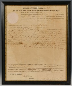 Lot 138: Sam Houston Signed Tennessee Land Grant