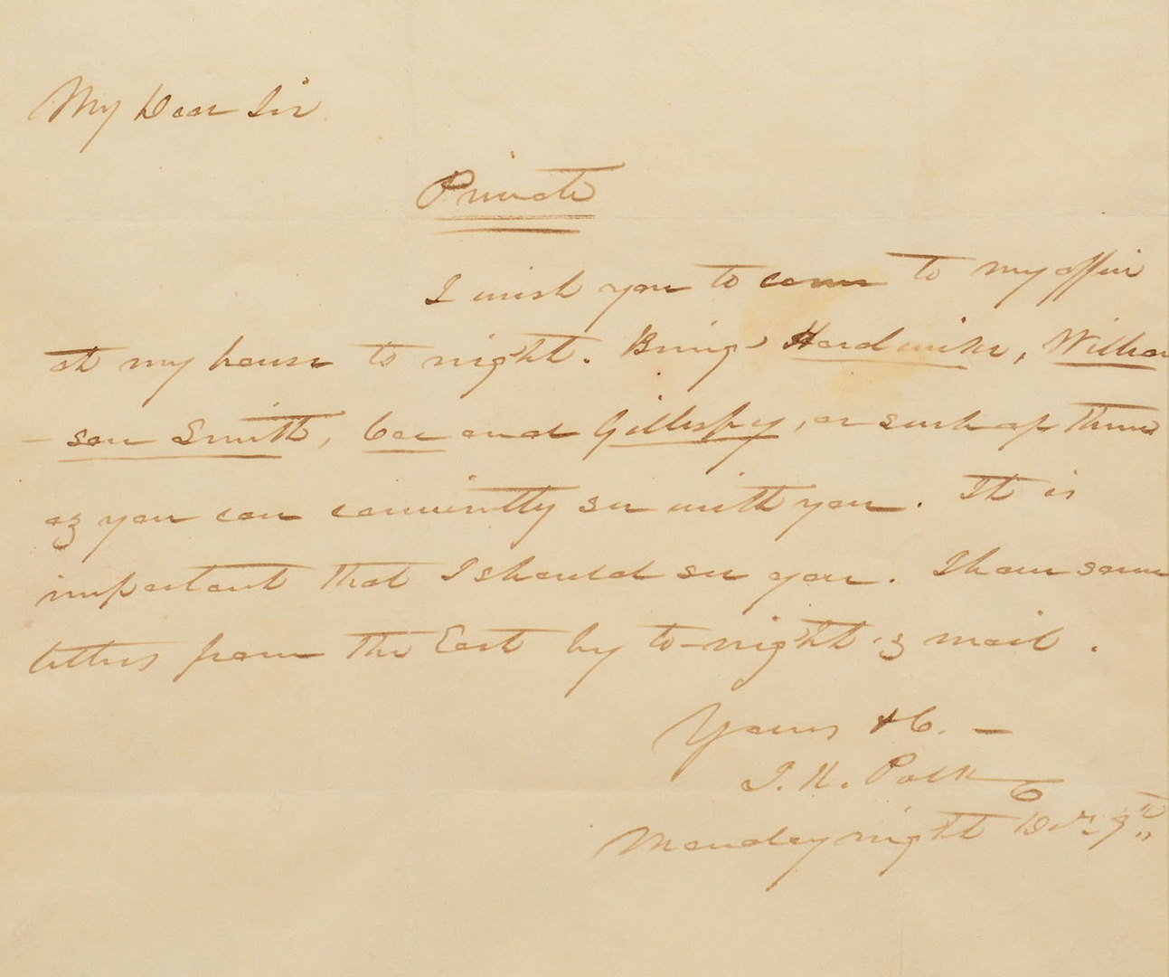 Lot 139: James K. Polk signed letter