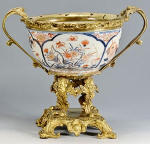Lot 13: Bronze Mounted Imari Porcelain Bowl