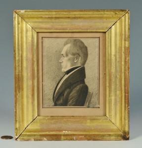 Lot 140: Southern Portrait Miniature, poss. James K. Polk
