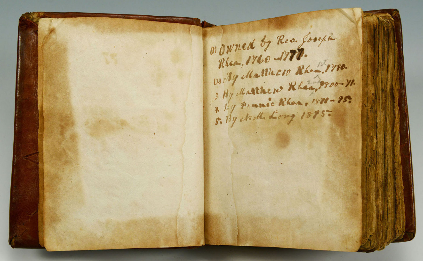 Lot 142: East TN Joseph Rhea's 1650 Bible, historical refer