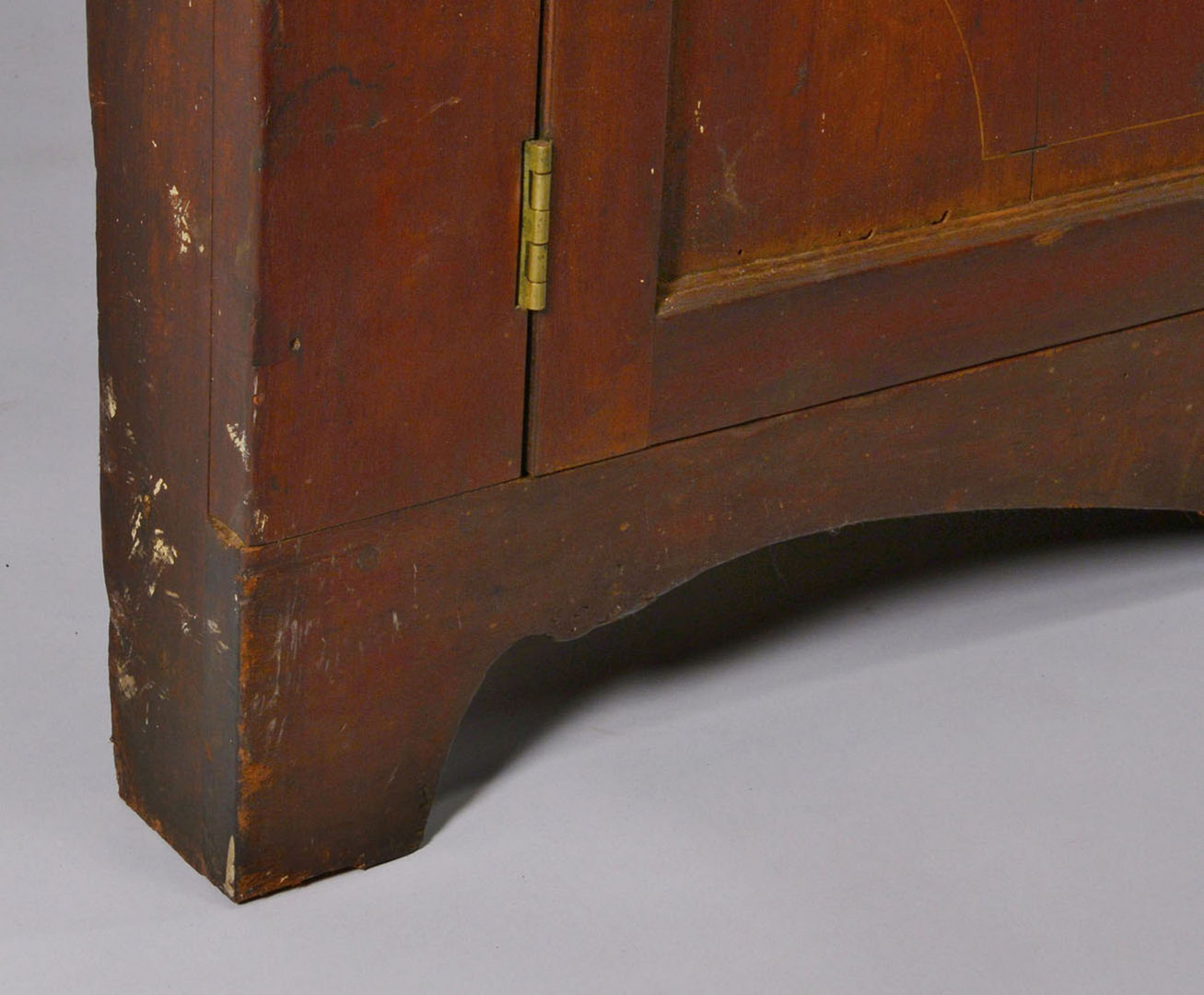 Lot 147: East TN Walnut Corner Cupboard w/ Vine Inlay