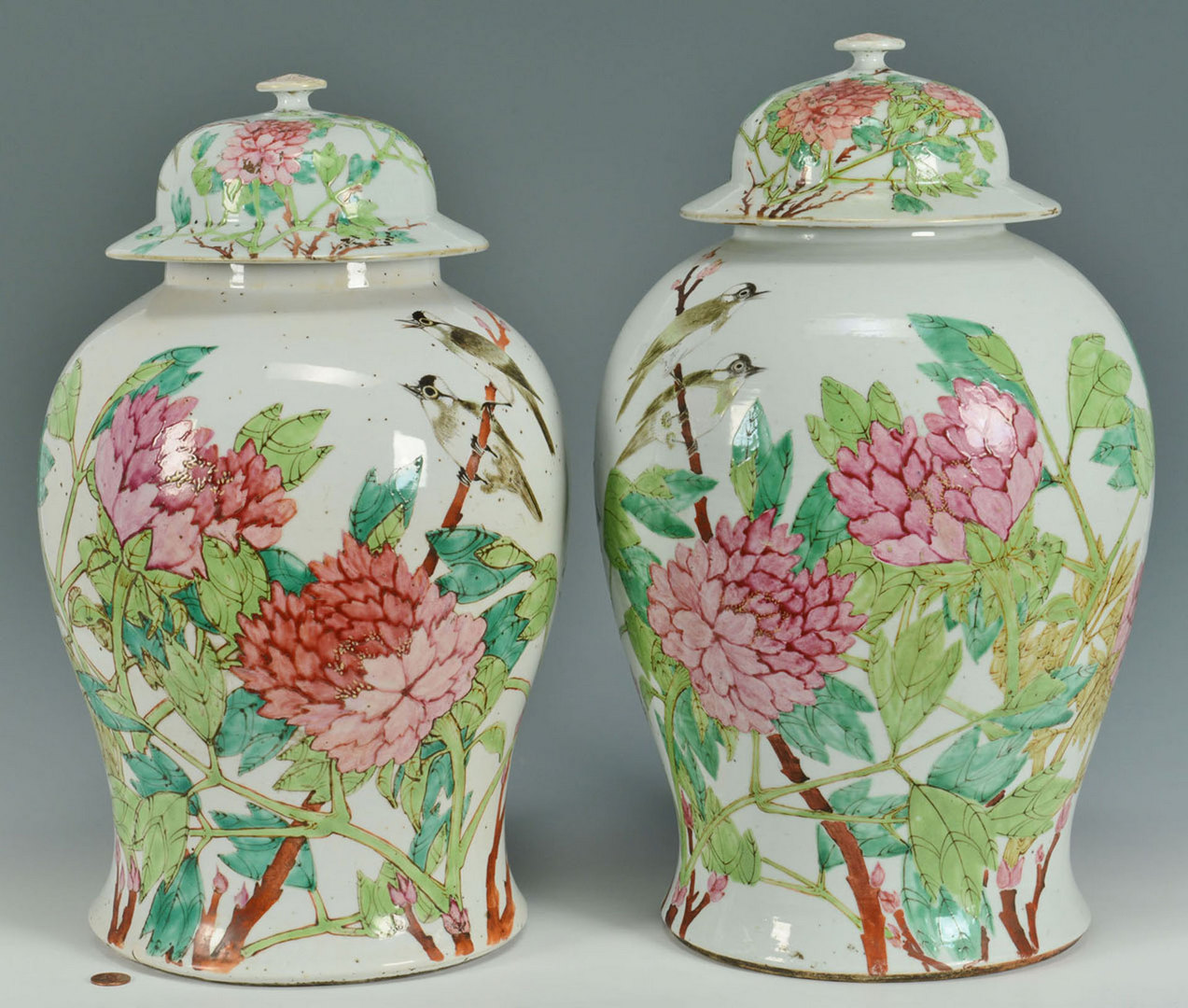 Lot 14: Pr. of Large Chinese Famille Rose Ginger Jars