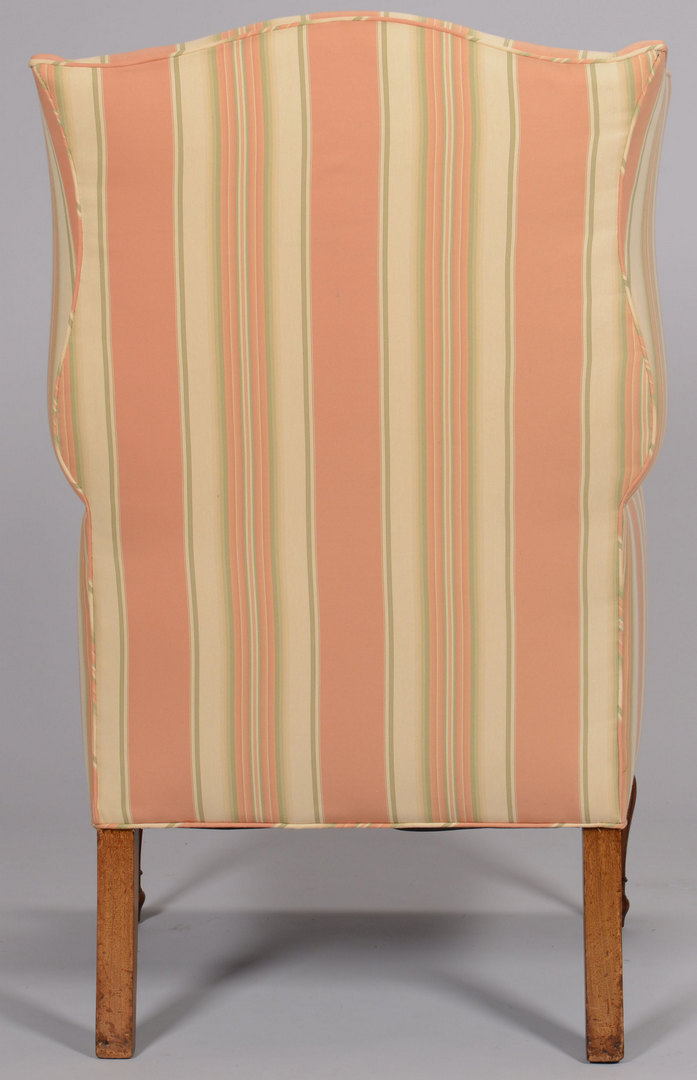 Lot 150: Sheraton Period Wing Chair w/striped upholstery