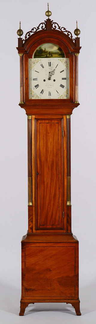 Lot 152: Simon Willard Labeled Tall Case Clock