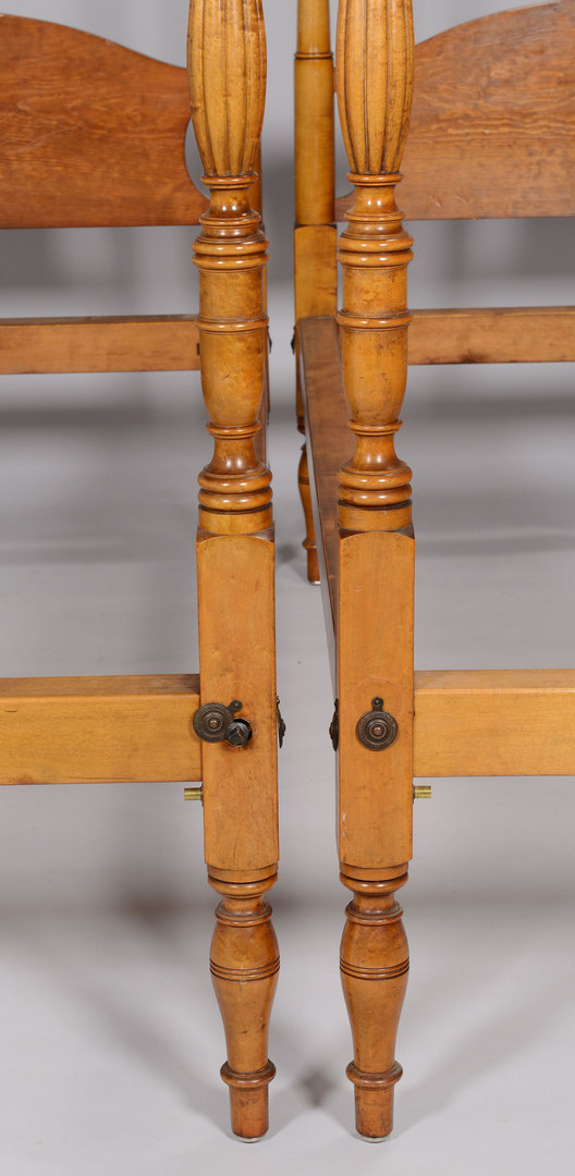 Lot 154: Pair Federal Tiger maple canopy beds