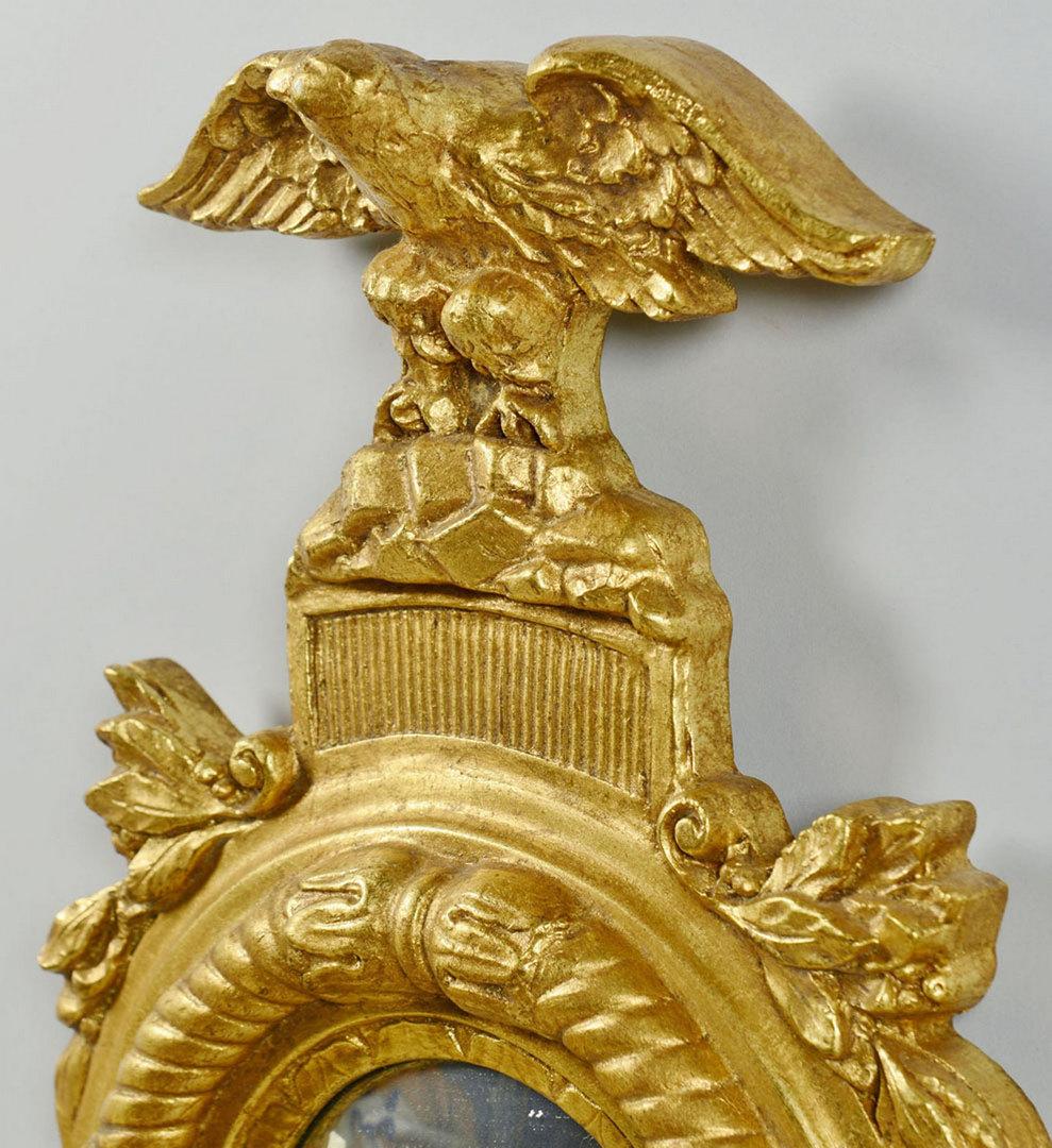 Lot 161: Pr. Federal Style Eagle Convex Mirror Sconces