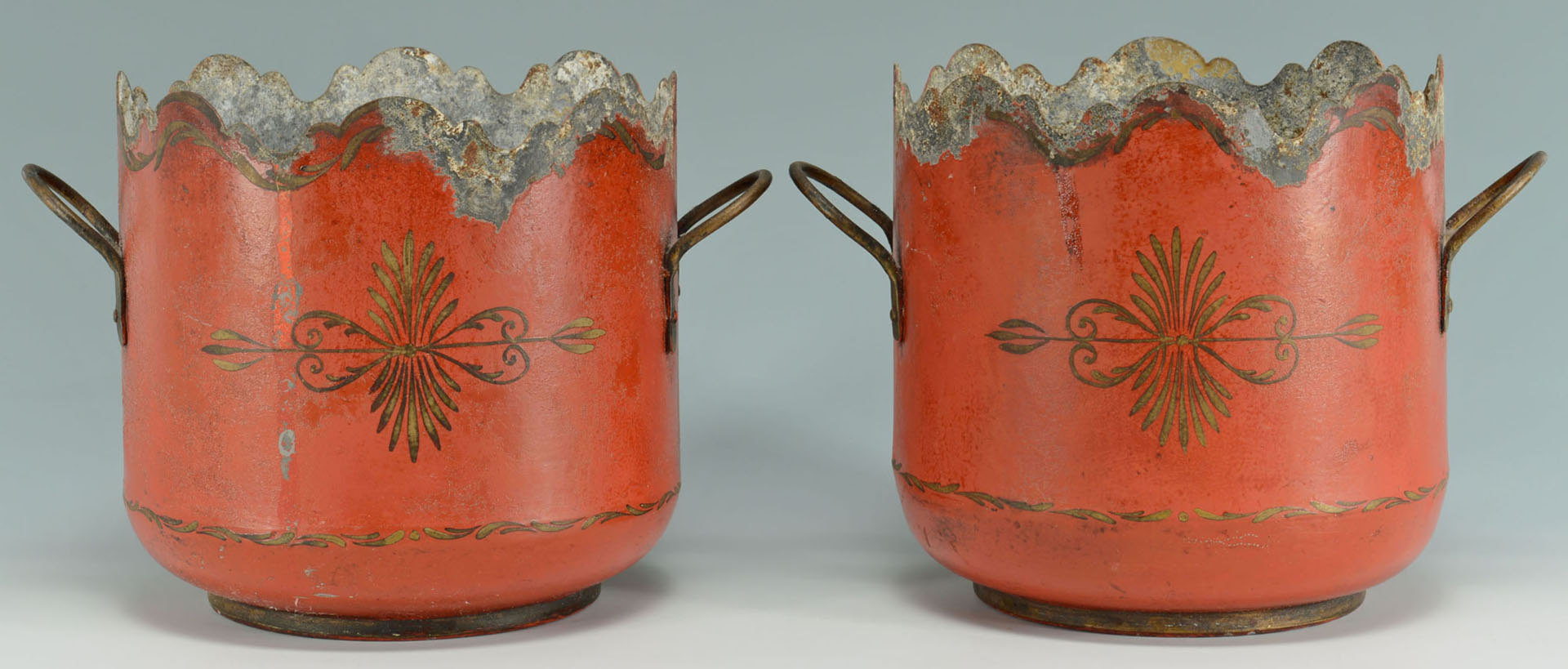 Lot 162: Pair French Painted Tole Cache Pots