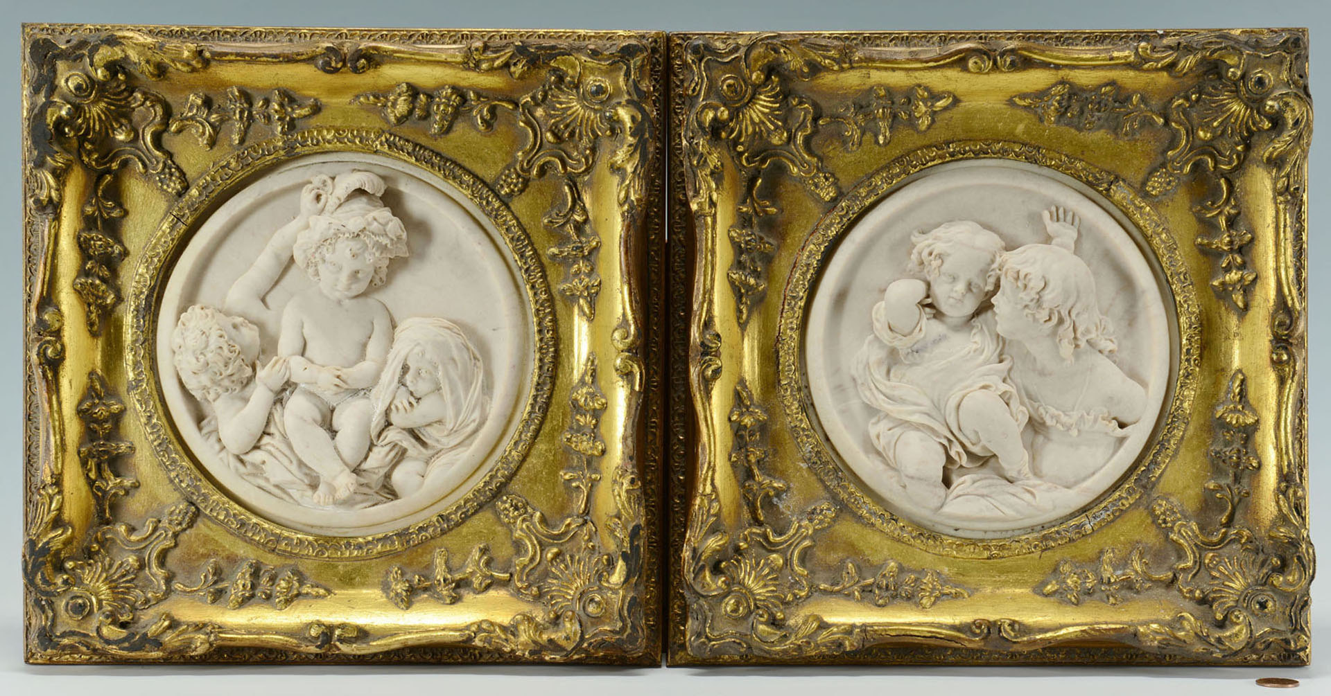 Lot 166: Pair of E. W. Wyon marble plaques of children