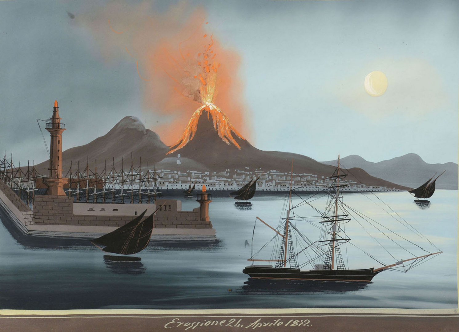 Lot 172: Italian School painting, Mt. Vesuvius