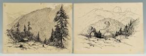 Lot 176: Two Louis Jones ink drawings of mountain scenes