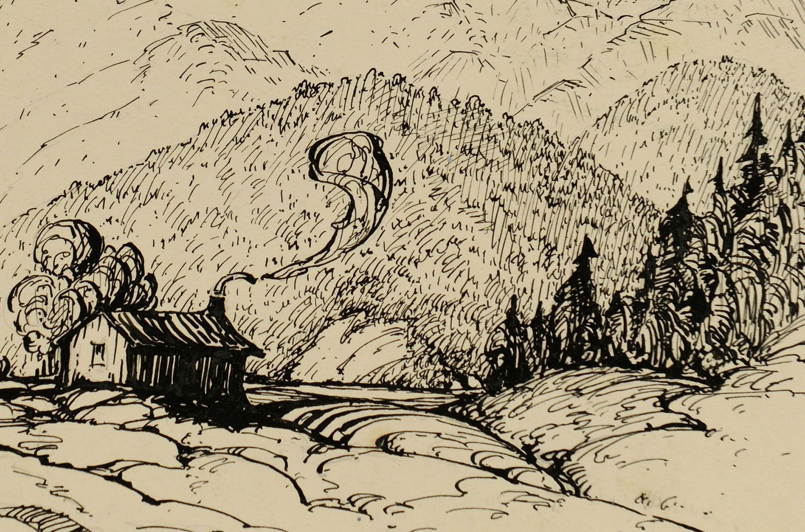 Lot 176: Two Louis Jones ink drawings of mountain scenes