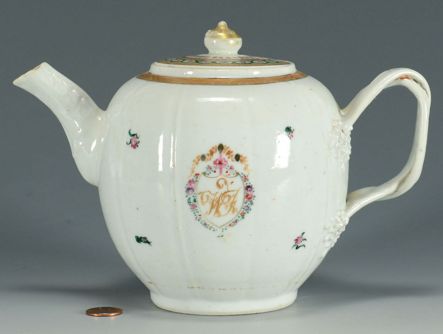 Lot 17: Chinese Export Armorial Teapot