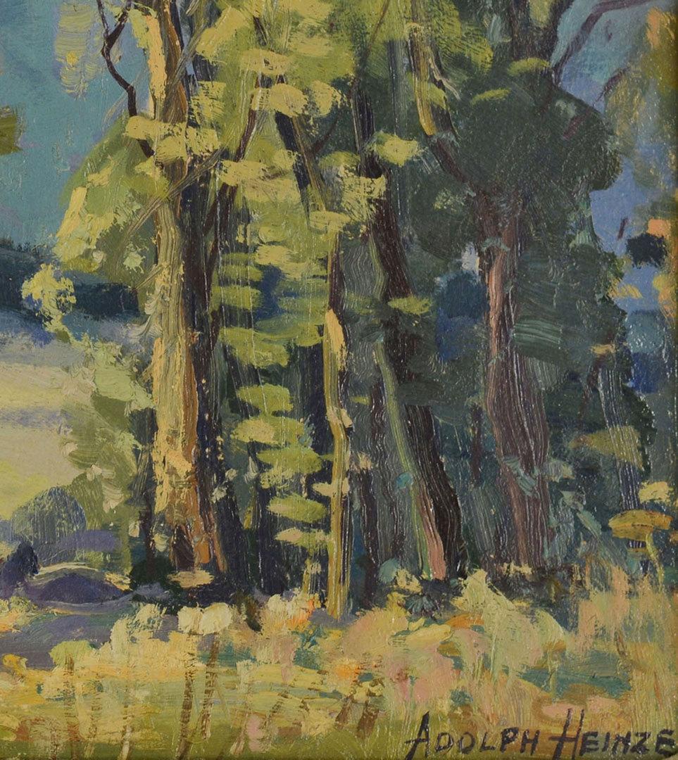 Lot 182: Adolphe Heinze Oil on Board Landscape