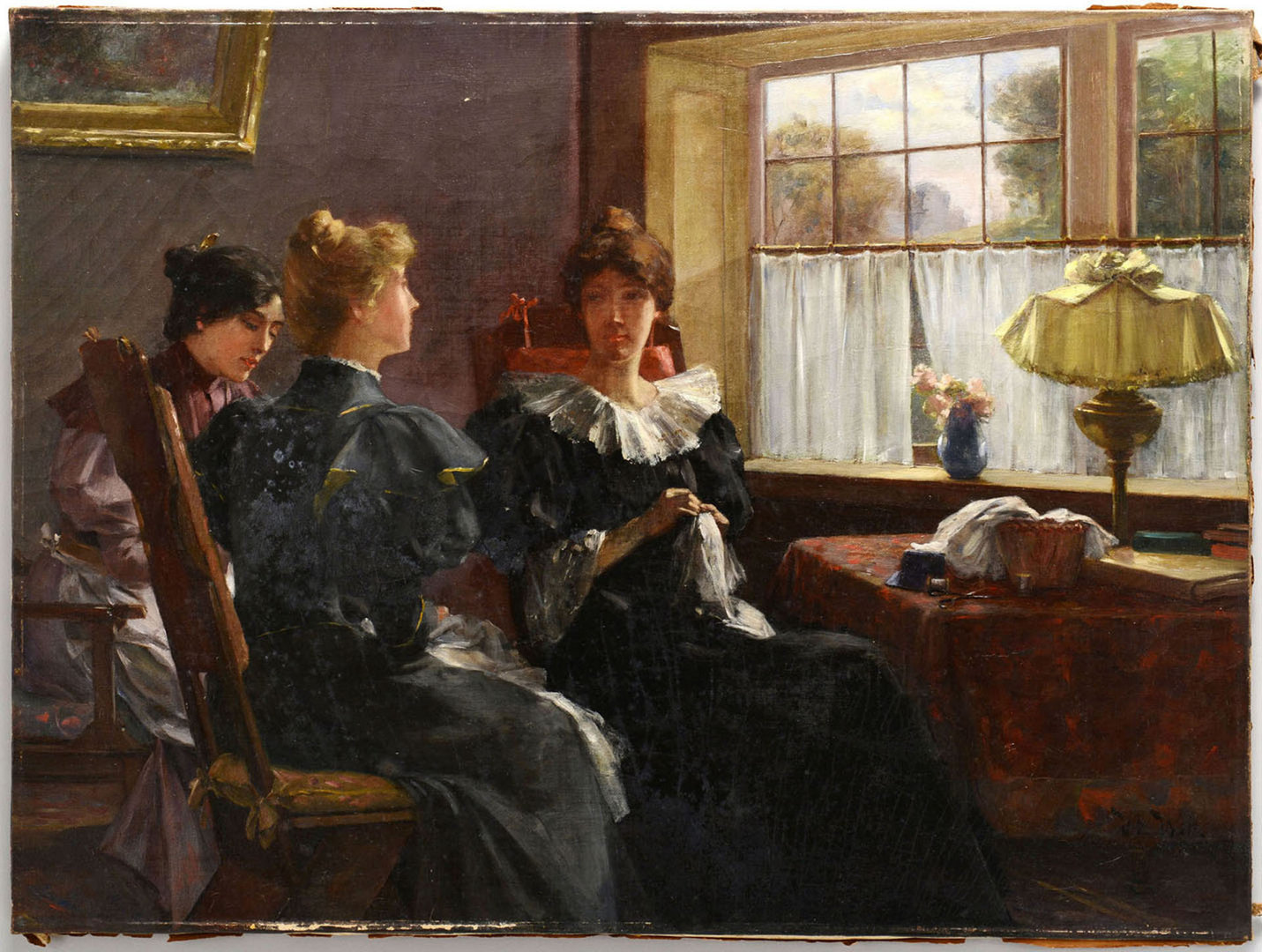 Lot 184: American Interior Scene Oil on Canvas, V. Witt