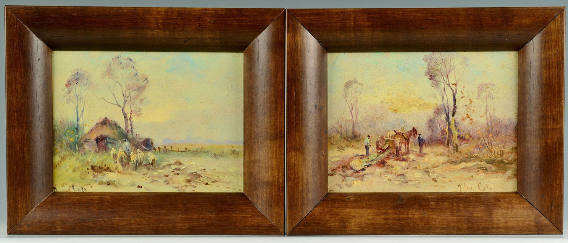 Lot 188: Style of Johannes Ten Cate, Pair Pastoral Scenes