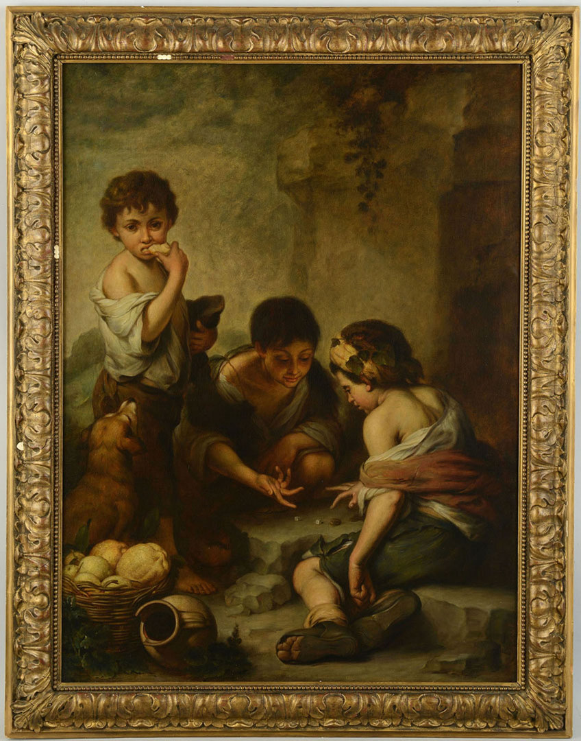 Lot 190: Large 19th c. O/C after Murillo, Dice Players