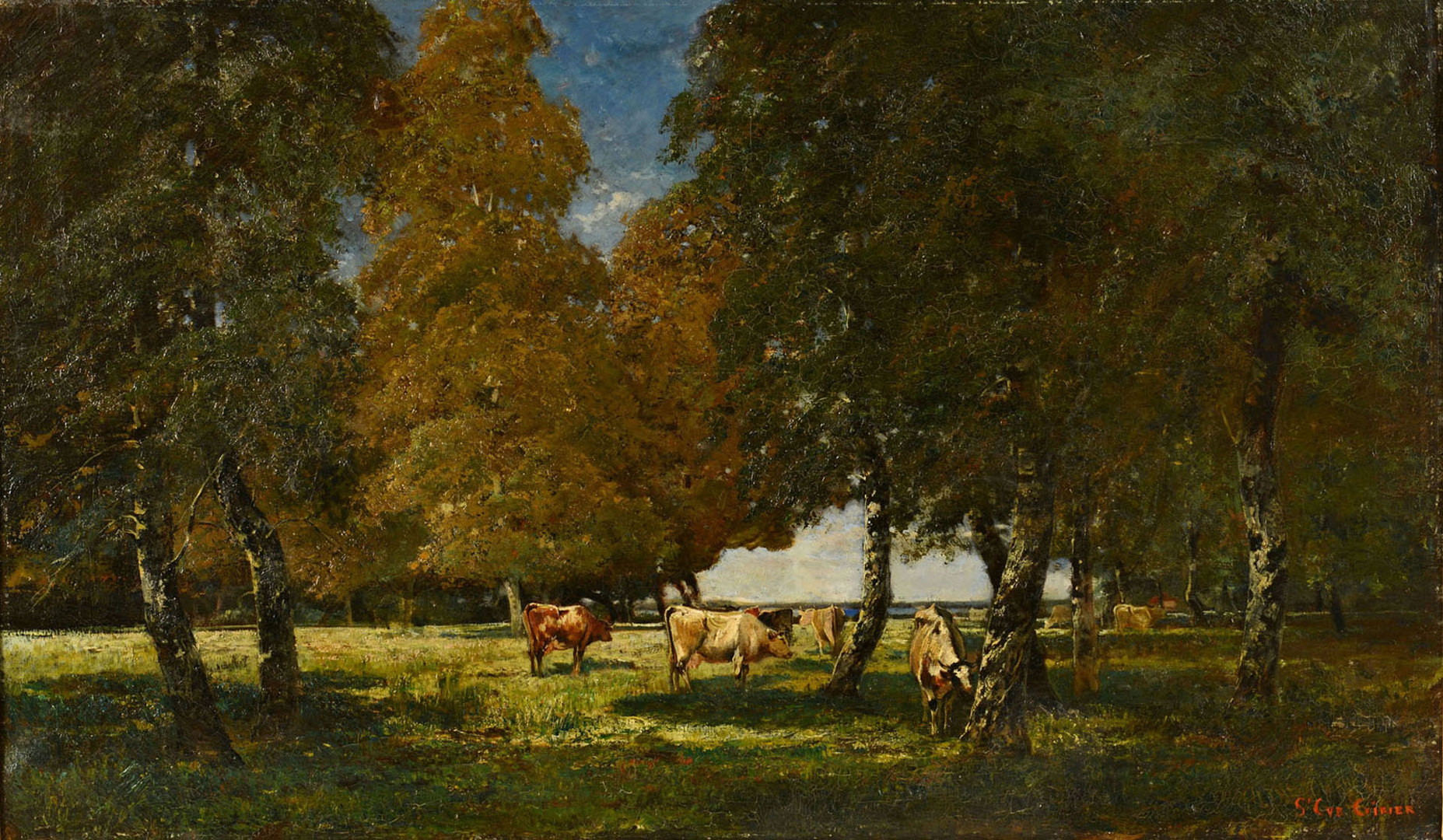 Lot 191: Jean AimŽ St. Cyr-Girier o/c, landscape with cows