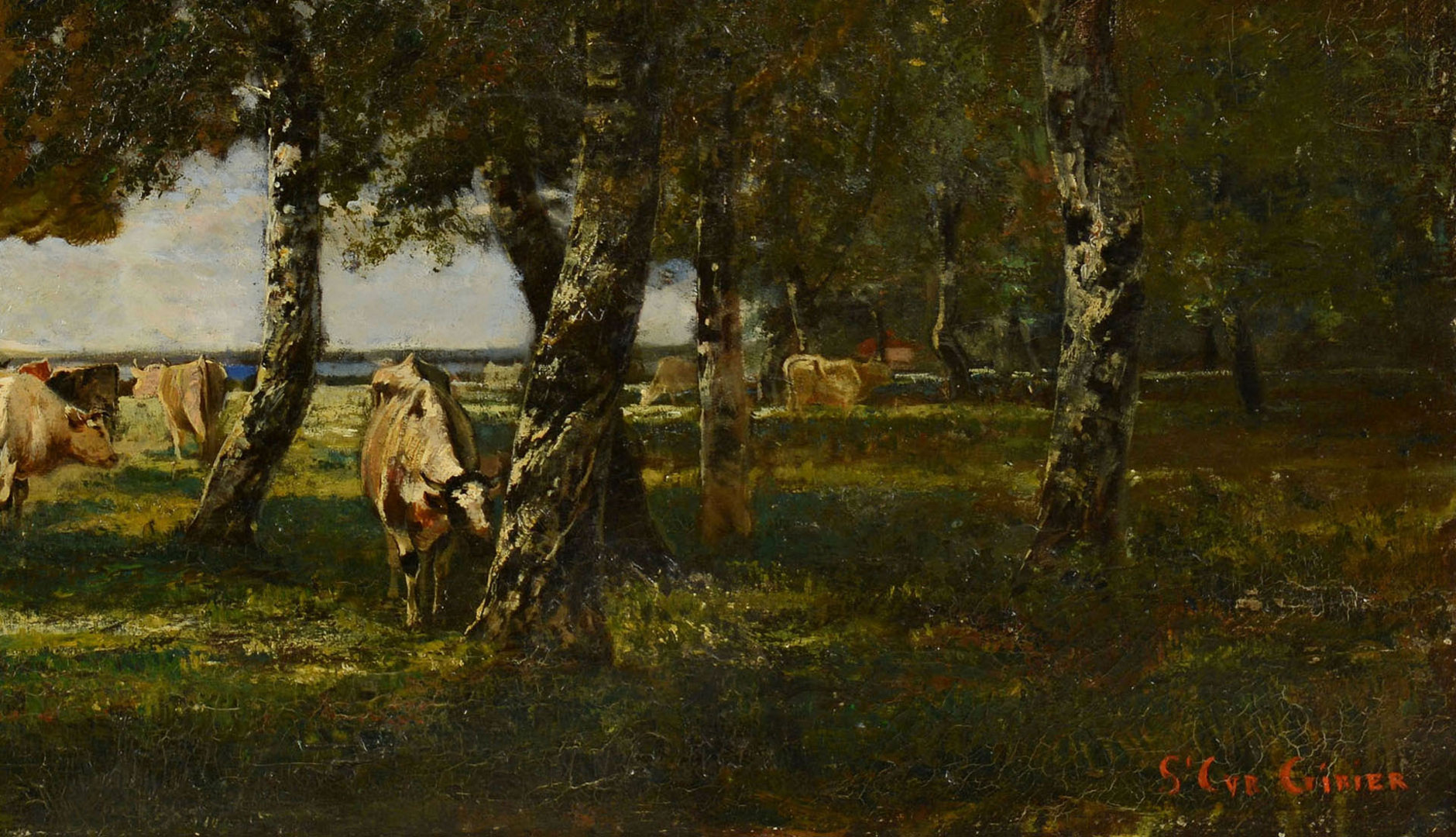 Lot 191: Jean AimŽ St. Cyr-Girier o/c, landscape with cows