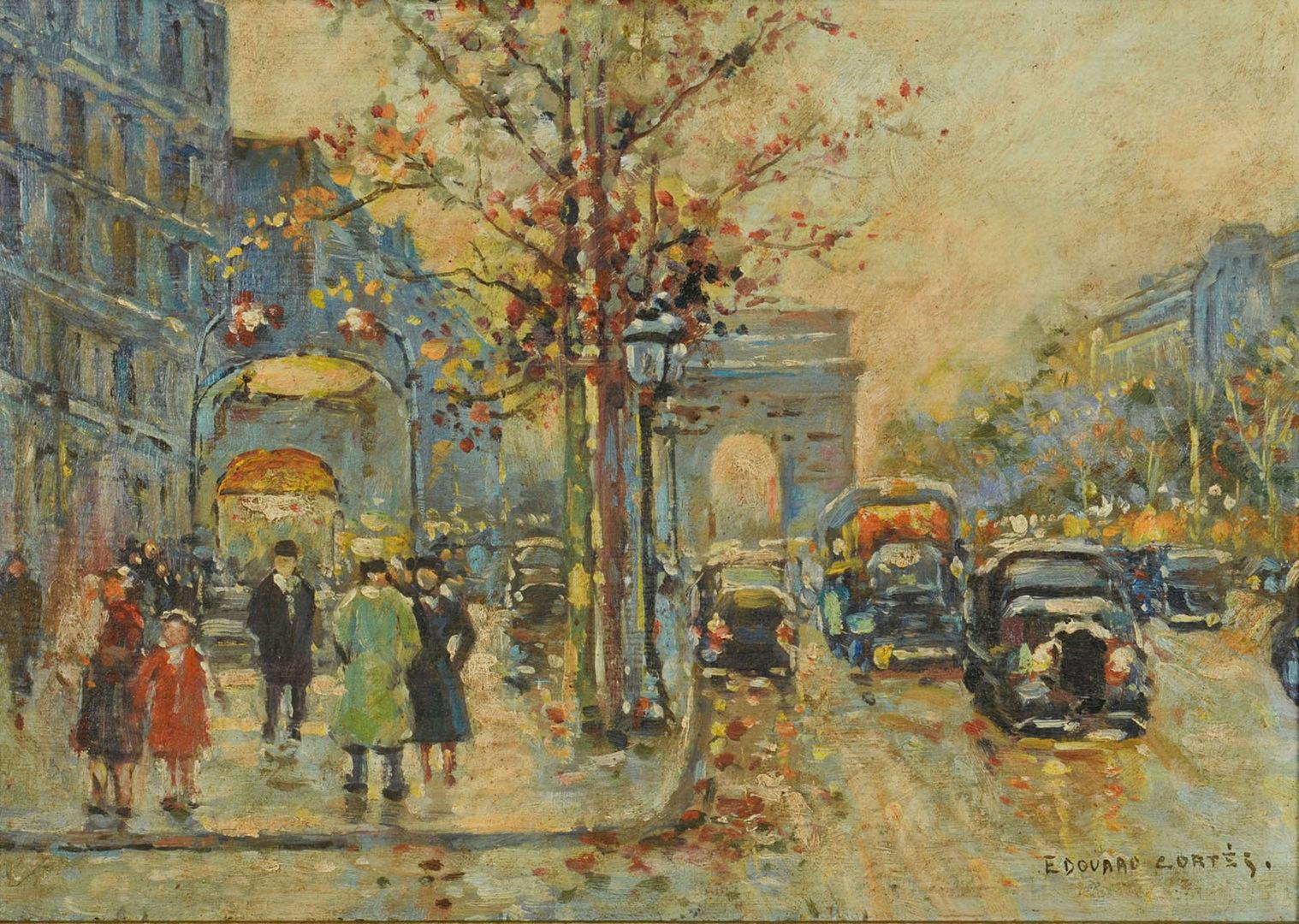 Lot 192: Edouard Cortes Oil on Board Parisian Street Scene