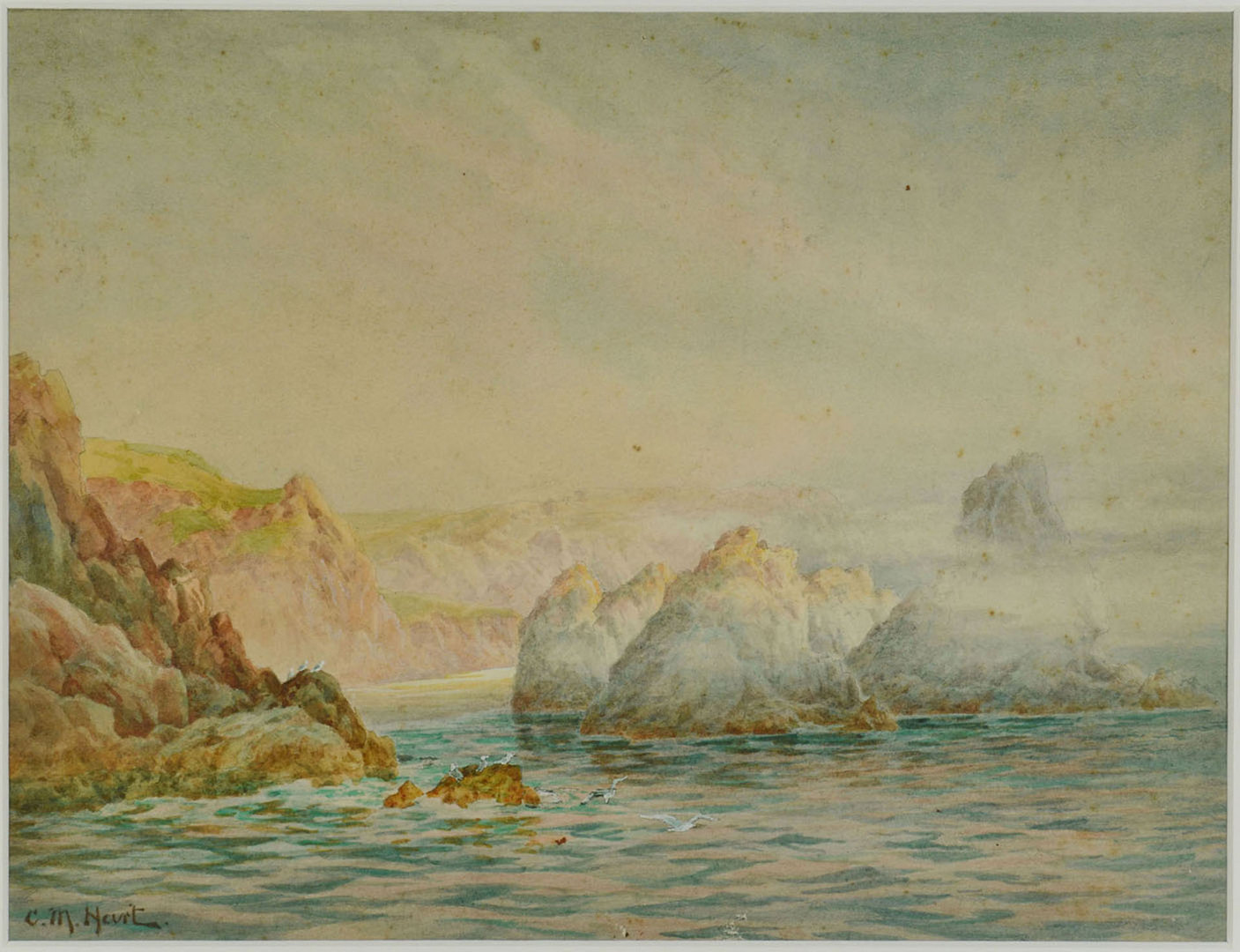 Lot 193: Claude Montague Hart Watercolor Coastal Scene