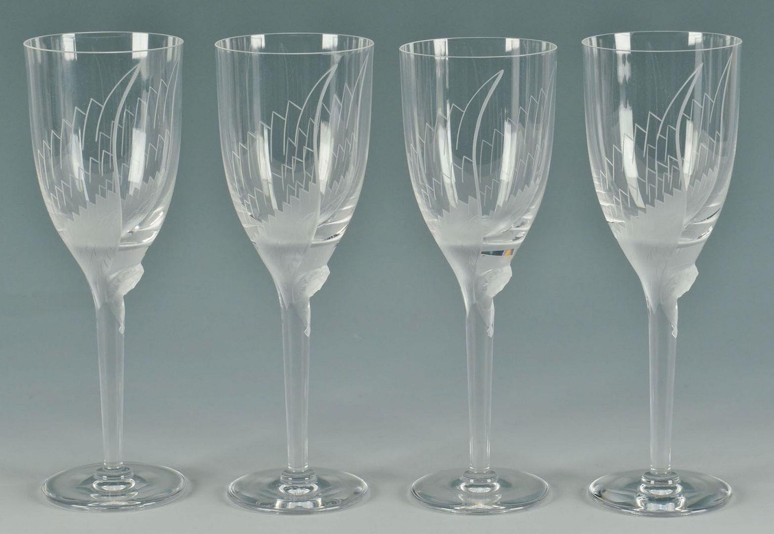 Lot 198: 4 Lalique Ange Champagne Flutes