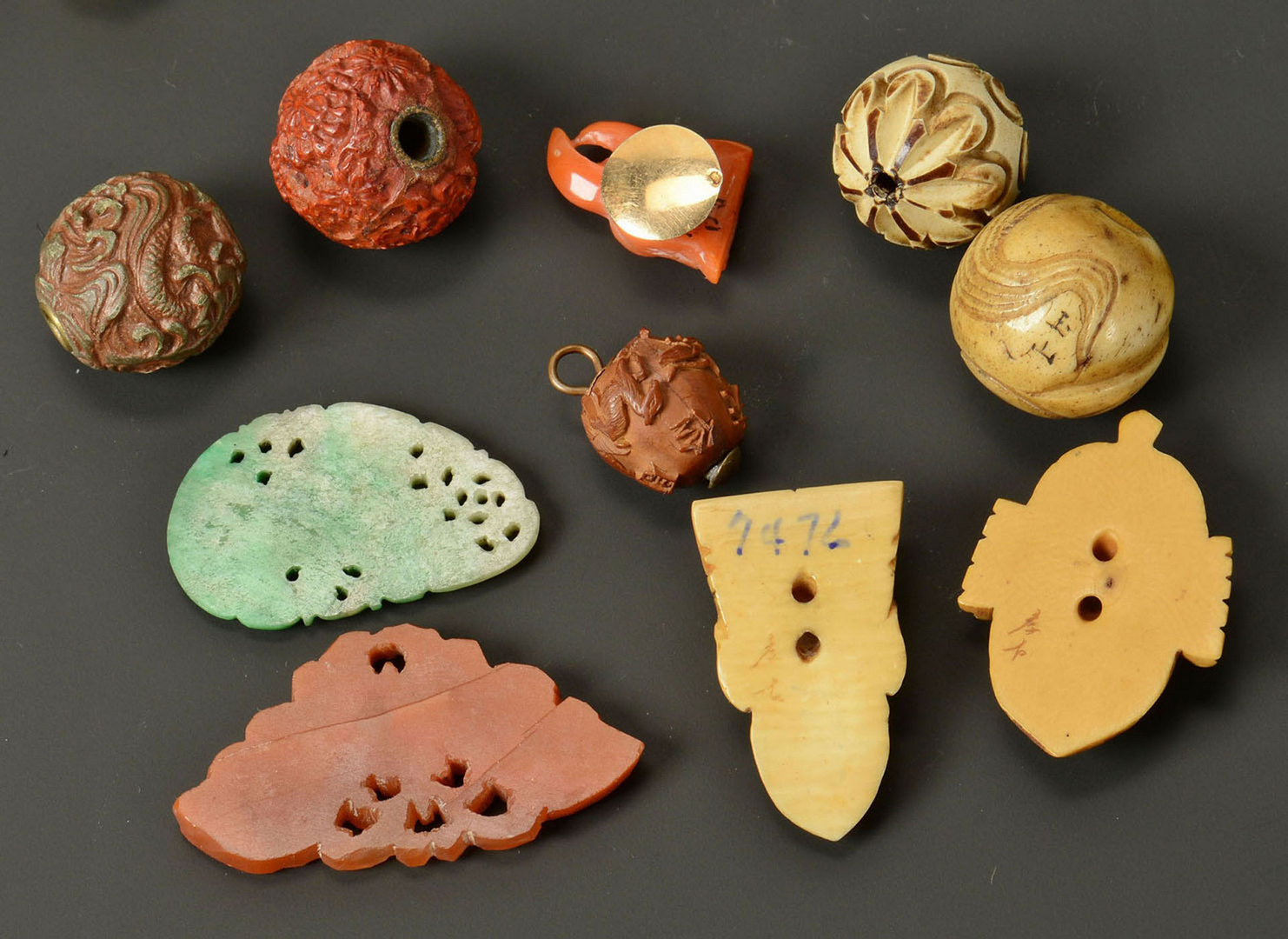 Lot 1: Group of Asian Jewelry Items, Jade, Ivory & Ojime