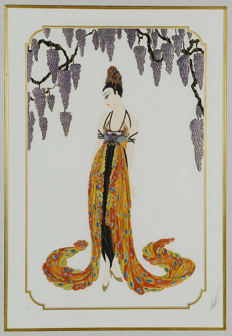 "Lot 206: Erte Serigraph titled ""Feather Gown"""