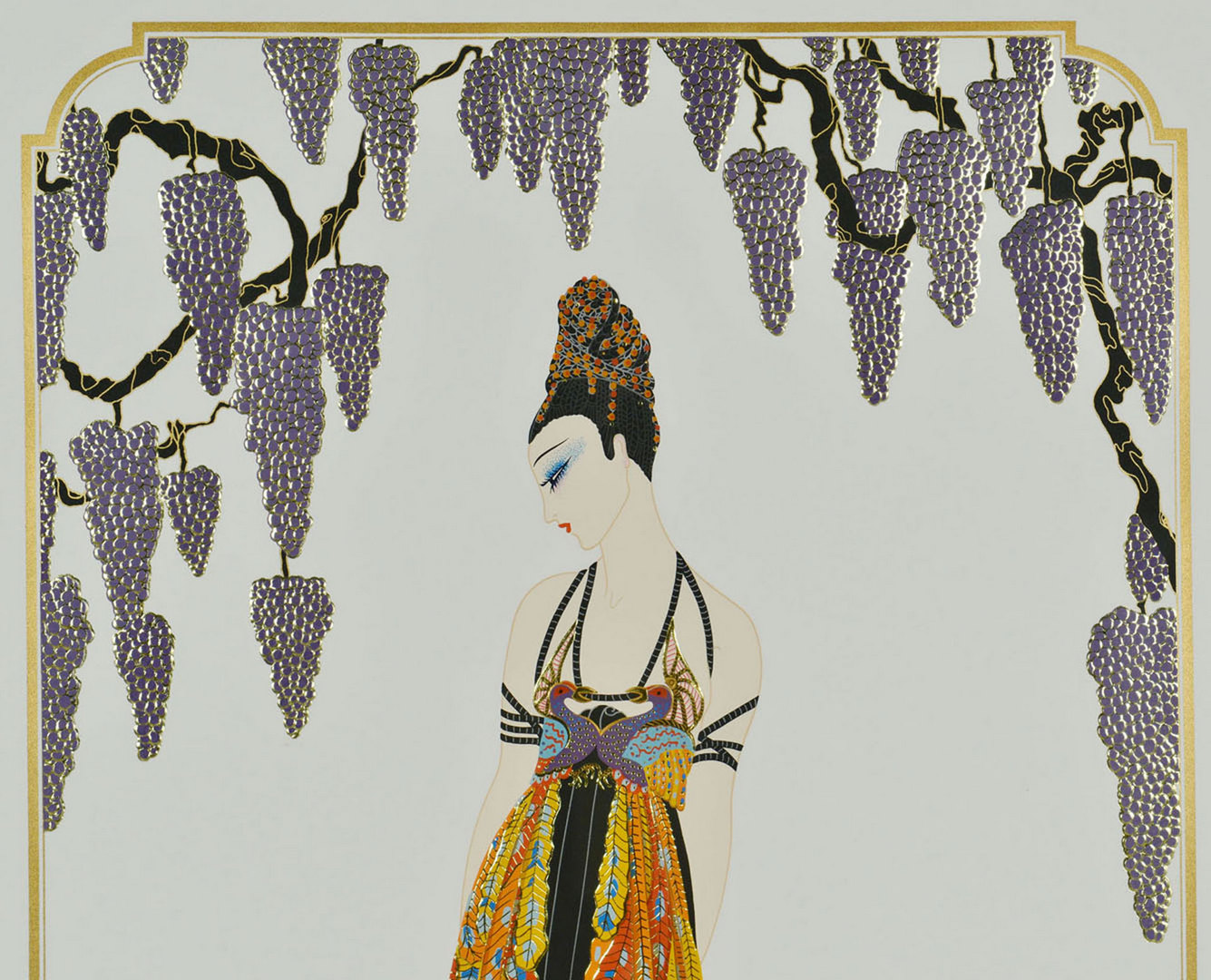 """Lot 206: Erte Serigraph titled """"Feather Gown"""""""