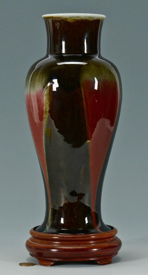 Lot 20: Chinese Flambe Vase w/ hardwood stand