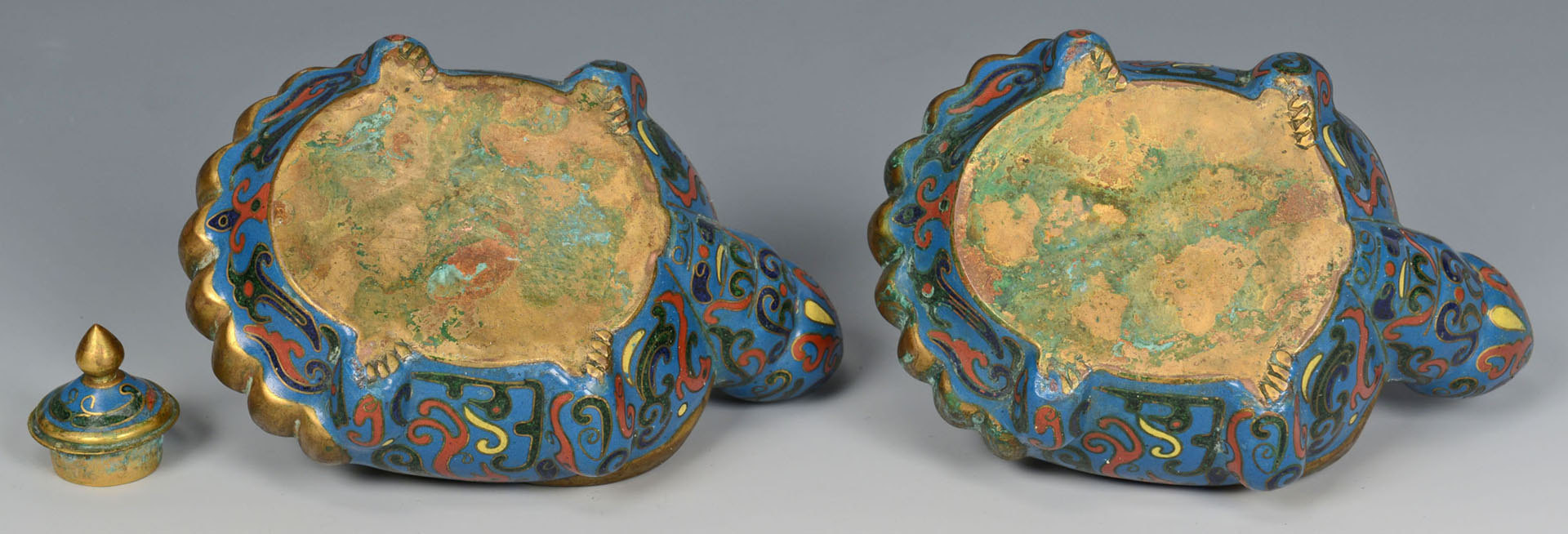 Lot 218: 2 Chinese Champleve Turtles and 2 pcs. Cloisonne