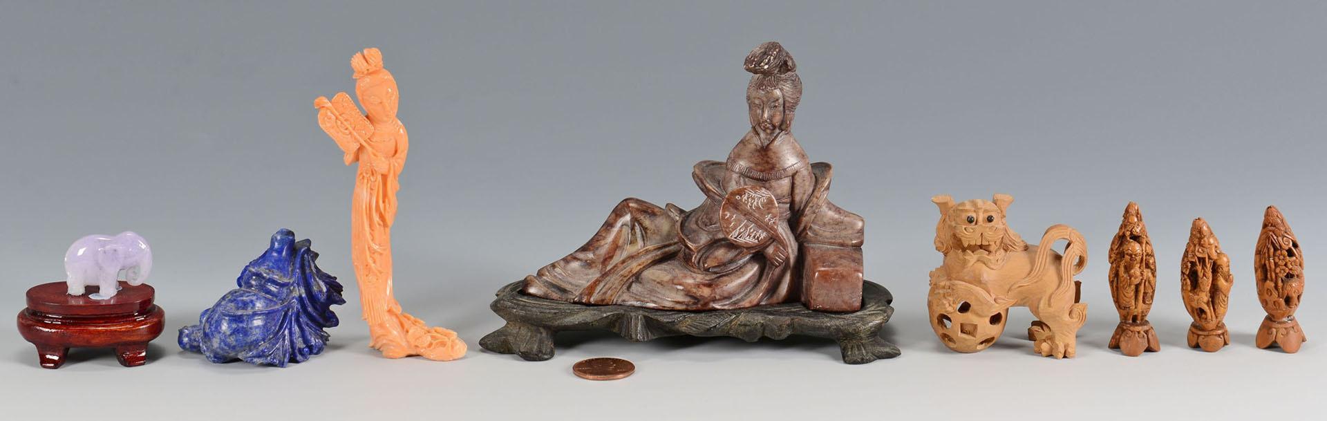 Lot 219: 8 Asian Figural Carvings inc. coral
