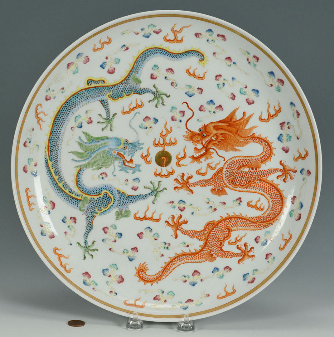 Lot 21: Chinese Famille Rose Porcelain Dragon Charger