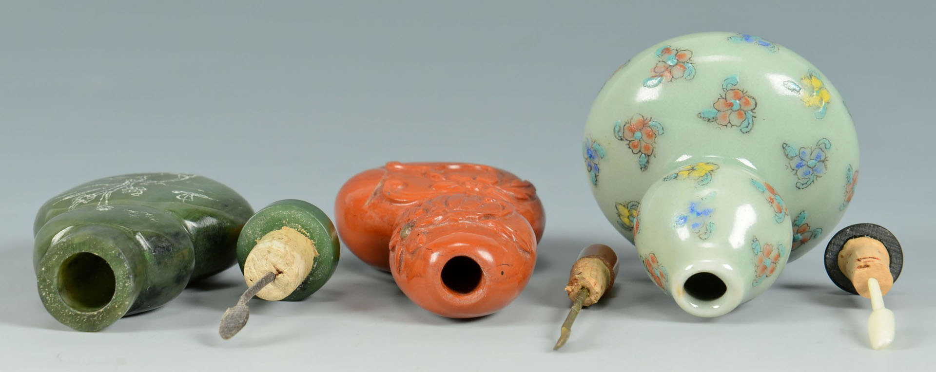 Lot 220: 3 Chinese Double Gourd form Snuff Bottles inc Cora