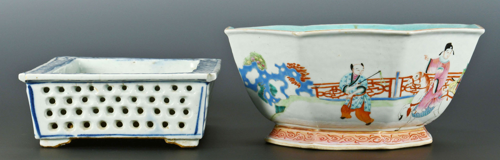 Lot 223: 2 Chinese Export Porcelain Items, Bowl & Planter
