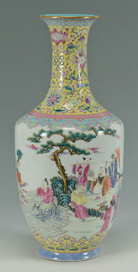 Lot 227: Chinese Famille Rose Amphora Vase w/ figures