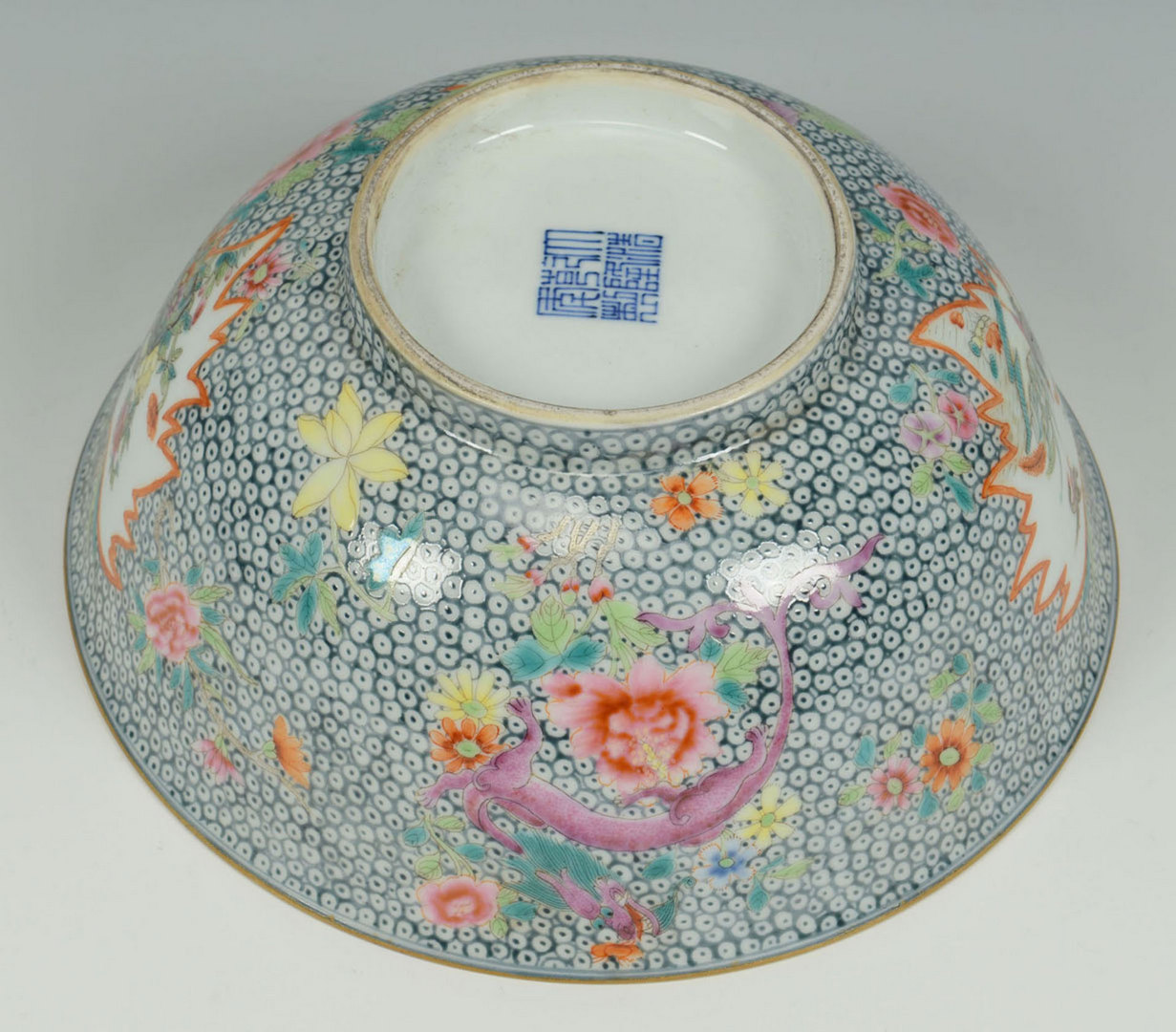 Lot 228: Chinese Famille Rose Bowl w/ millefleur ground