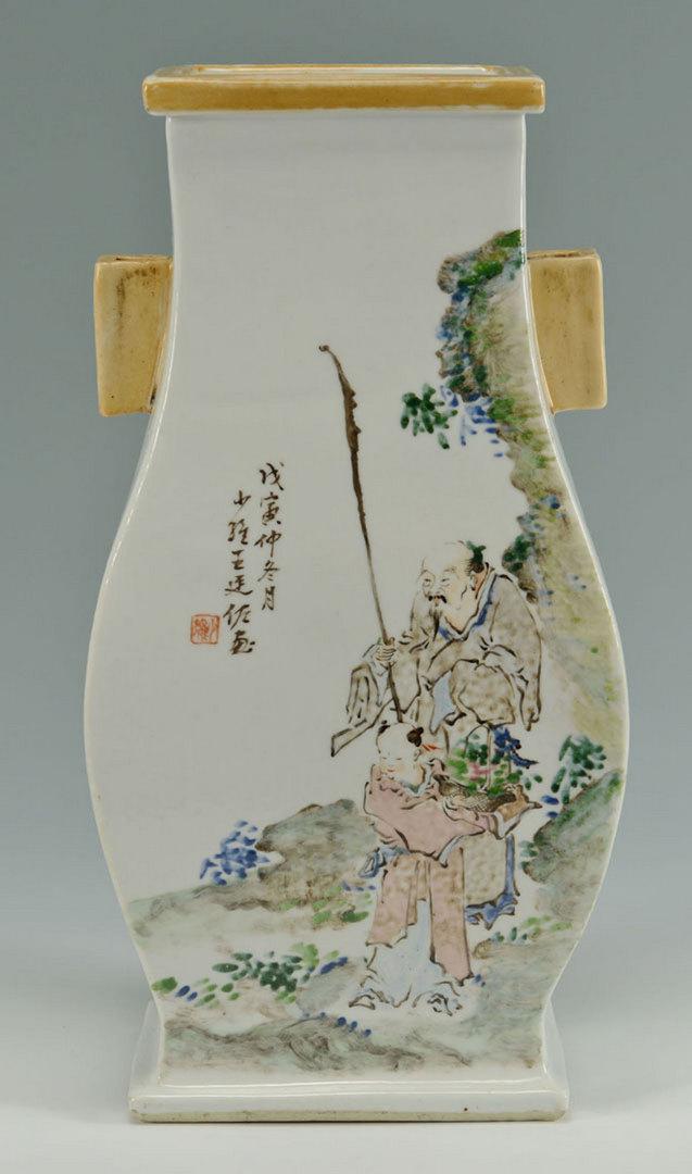 Lot 23: Chinese Famille Rose Handled Vase