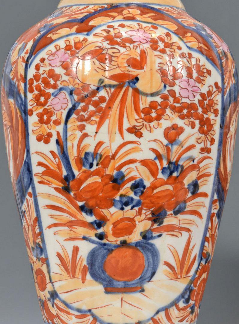 Lot 240: Pr. Large Imari Porcelain Vases & Jardiniere